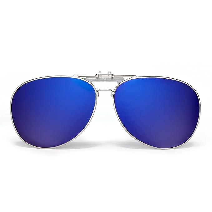 Gafas de Sol Aviador Clip En Retro Lentes Polarizados Flip up Conducir Anteojos Hombre(Plateado
