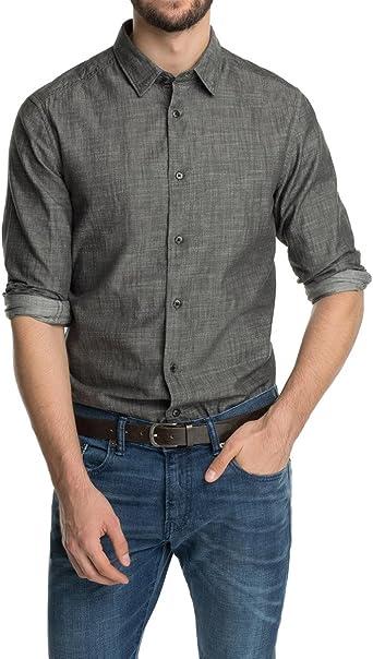 Esprit Langarm, Chambray Camisa para Hombre