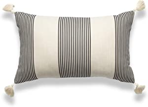"""Hofdeco Moroccan Tassel Neutral Decorative Pillow Cover ONLY, Gray Beige Stripes, 12""""x20"""""""