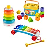 Fisher Price Classic Infant Trio Gift Set of Three Baby Toys for Stacking Sorting and Musical Play
