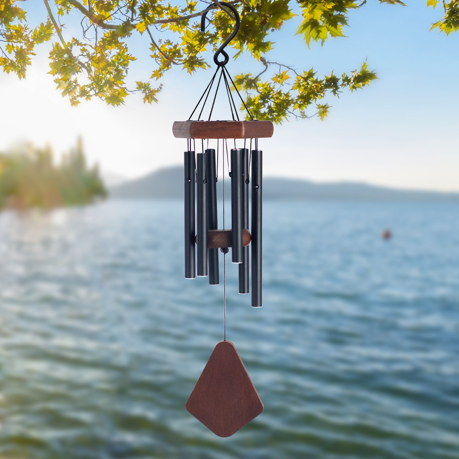 Sinfinate Wind Chimes Outdoor Amazing Grace, Memorial Wind Chimes with 6 Metal Tubes, Beautiful Garden Wind Chimes for Patio and Indoor Décor (Matte Black)