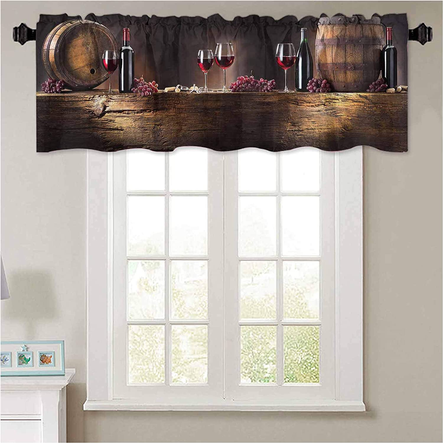 """YUAZHOQI Kitchen Curtain Valance Winery Decor Red Wine Barrels Bottles Glasses Grapes on a Anti 1 Panel 36"""" x 18"""" Thermal Insulated Blackout Valance Curtain"""