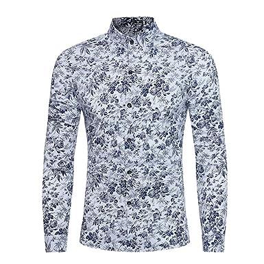 9d5c48c5fe42 Xinantime T-Shirt Chemise à Manches Longues Imprimée à Manches Longues pour  Hommes Occasionnels de Personnalité Blanc Marine  Amazon.fr  Vêtements et  ...