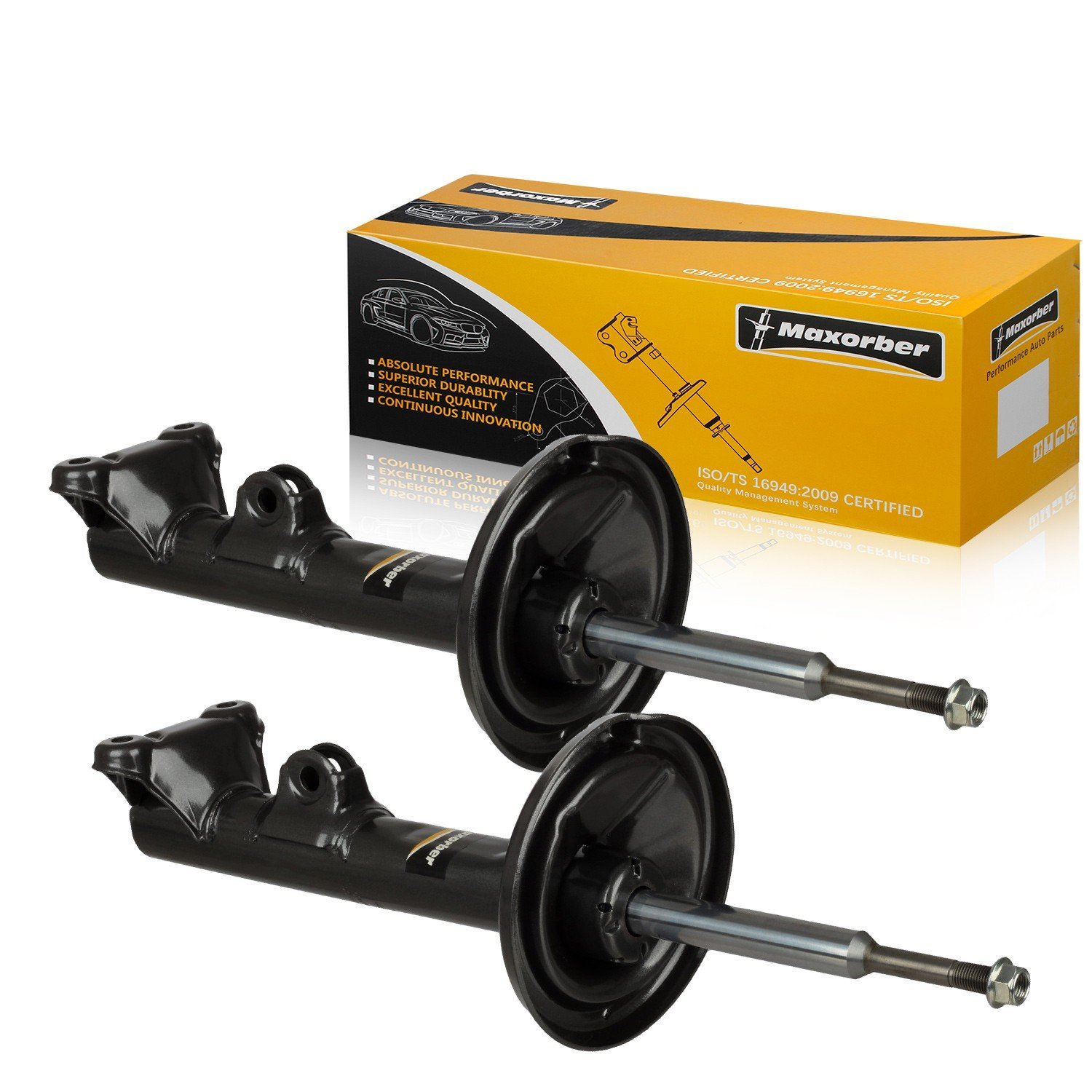 Maxorber Front Pair Shocks Struts Absorber Compatible with 02 03 04 05 06 07 08 09 Mercedes-Benz C230 06 07 C350 06 07 C280 05 06 C55 AMG 01 02 03 04 05 Mercedes-Benz C240 C320, 335920 71488