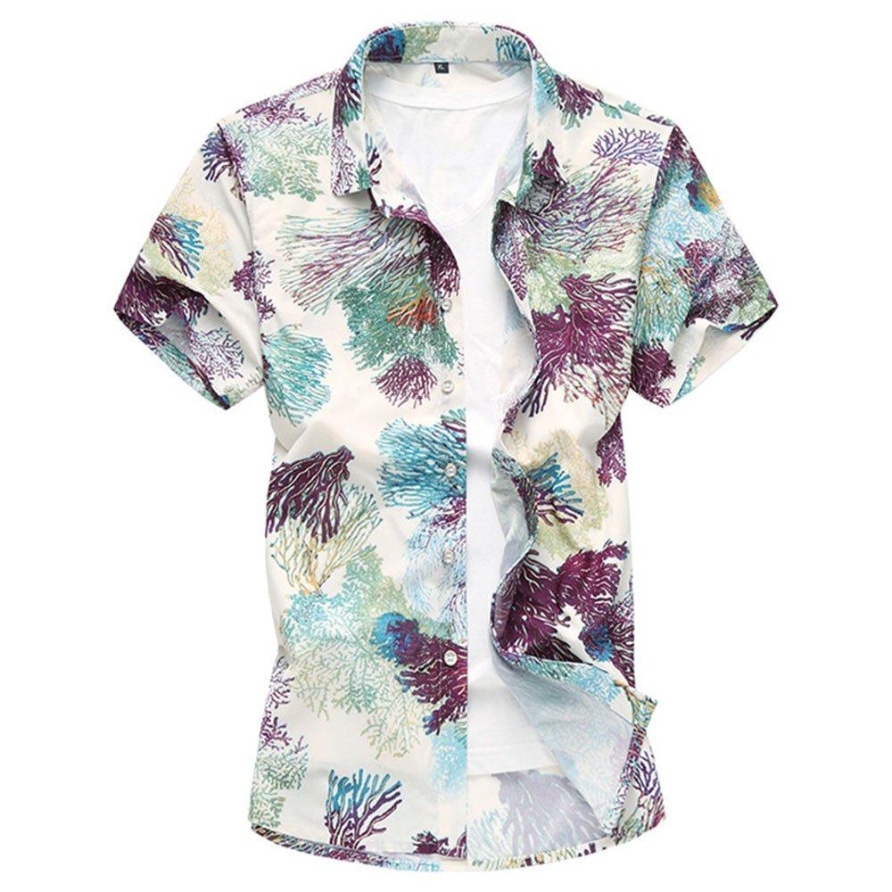 WULFUL Novelty Summer Colorful Men's Short Flower Regular Fit Button Down Casual Short Sleeve Shirt
