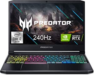 "Acer Predator Helios 300 Gaming Laptop, Intel i7-10750H, NVIDIA GeForce RTX 2070 Max-Q 8GB, 15.6"" FHD 240Hz 3ms IPS Display, 16GB Dual-Channel DDR4, 512GB NVMe SSD, WiFi 6, RGB Keyboard, PH315-53-71QX"
