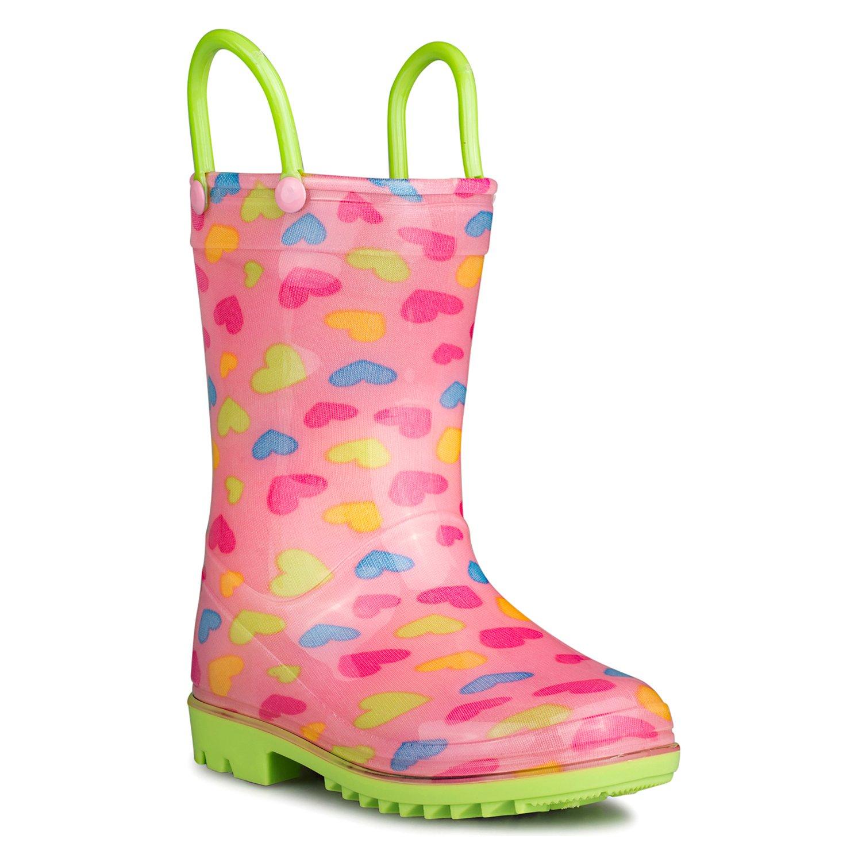 [SBR900-HRT-T5] Chillipop Rainboots for Boys, Girls & Toddlers – Fun Kids Prints, Pull On Handles