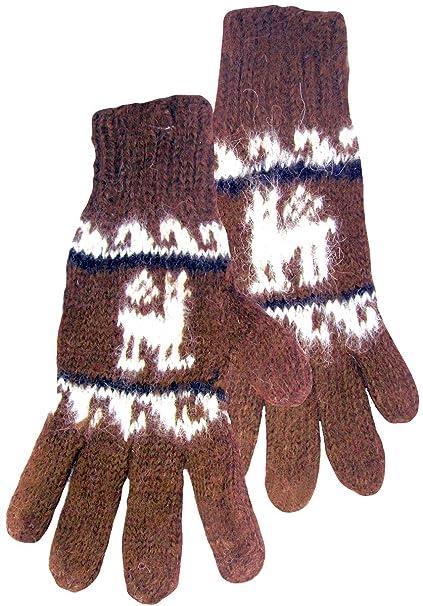 Amazon Alpaca Gloves With Llama Pattern Brown Clothing