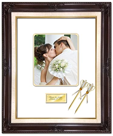 20 x 24 personalized wedding picture frame with 2 handmade ribbon pens elite dark mahogany