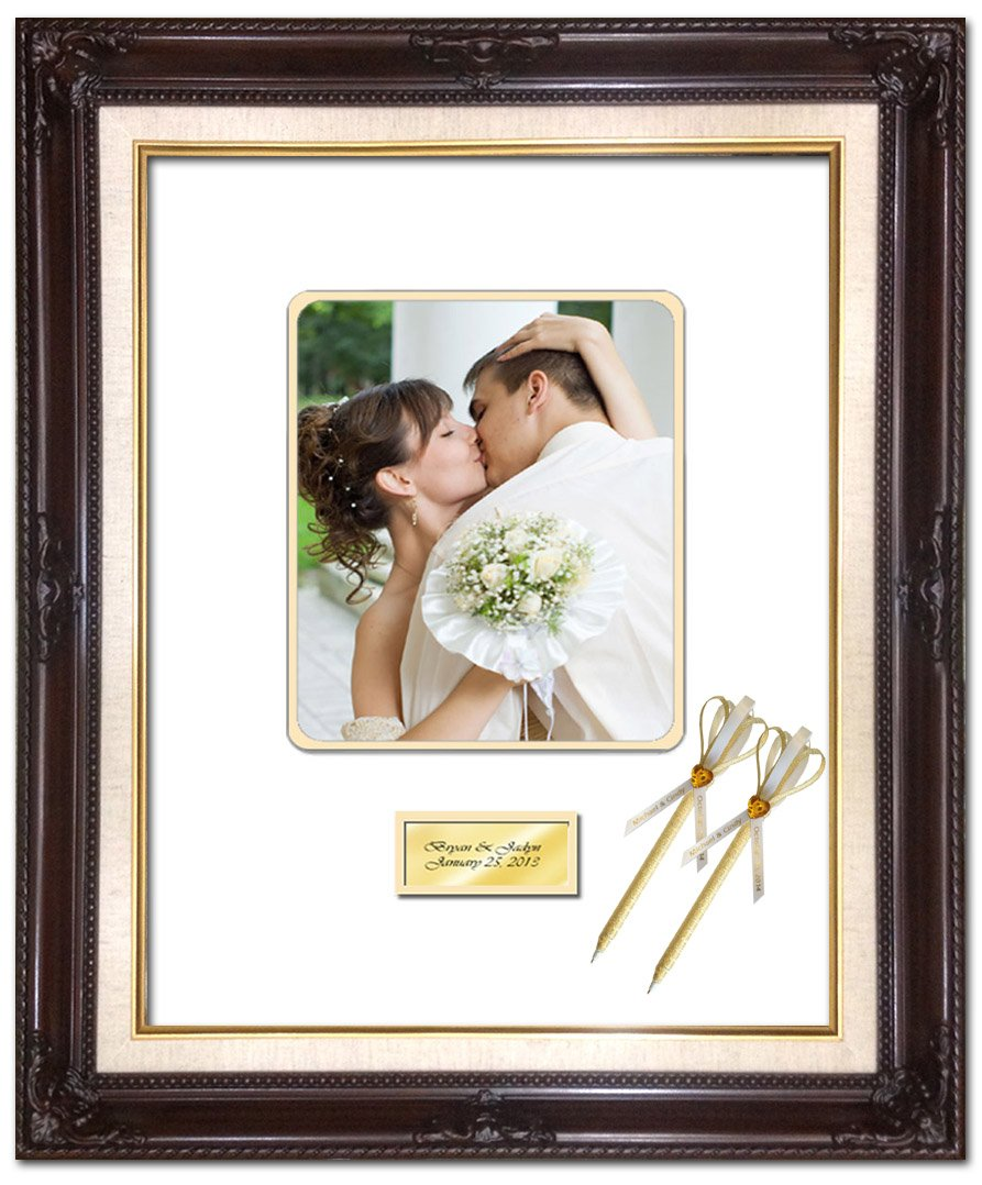 16 x 20 Personalized Wedding Picture Frame with 2 Handmade Ribbon Pens - Elite Dark Mahogany Linen Floral Wood Photo Frame - optional use as Guest Book Signature Autograph Frame with Round Corner 8W x 10H Portrait Photo - Top matted White Inner mat Gold -