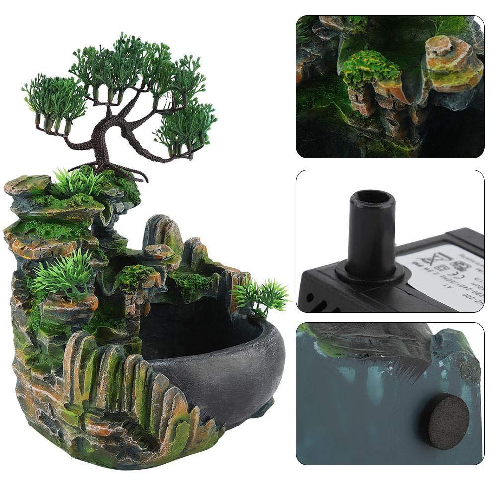Umidificatore della Decorazione Domestica Fontana da tavolino della Cascata del LED Che accende Cascata di Meditazione di Zen con Cambiamento di Colore