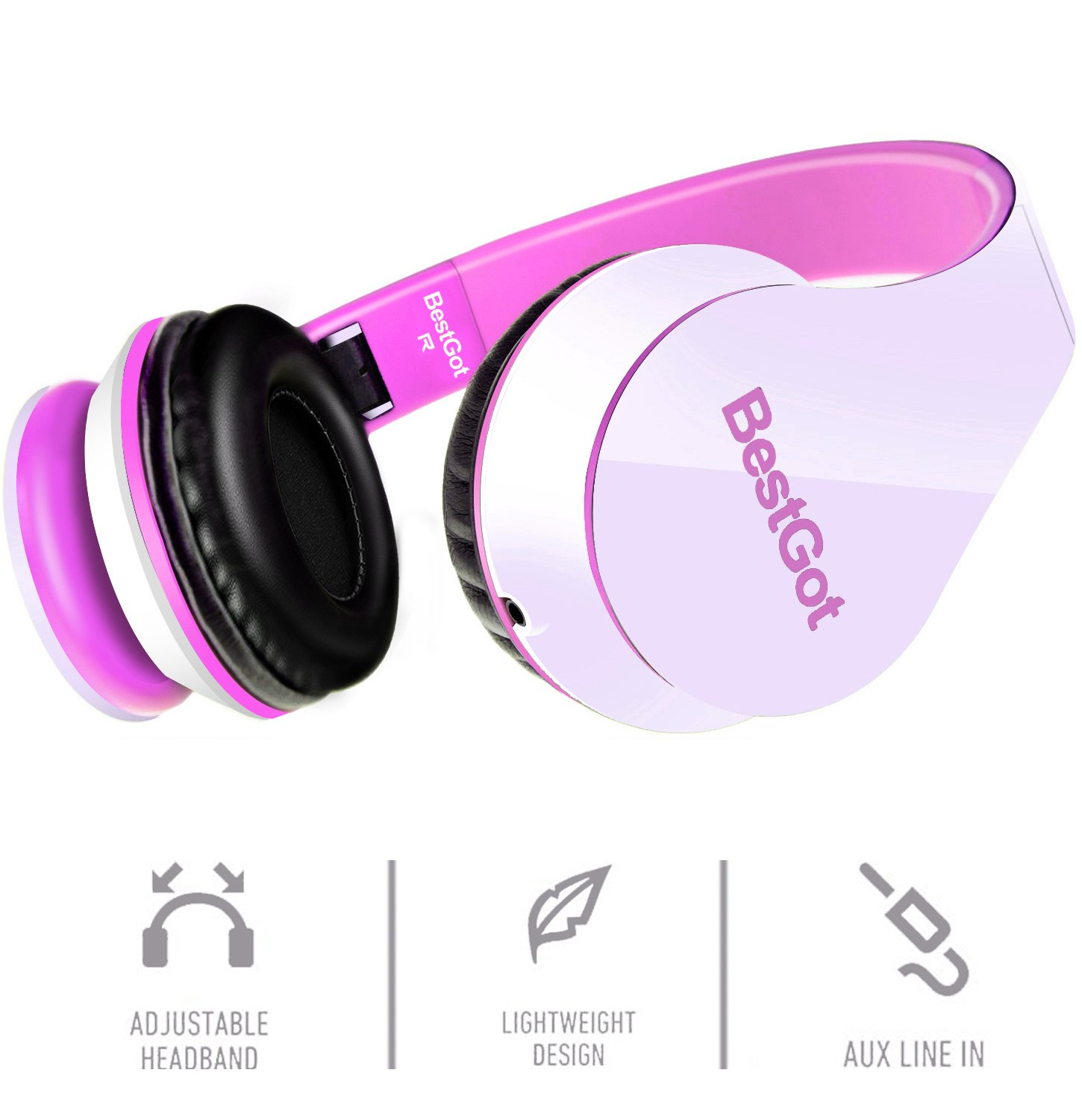 BestGot Kids Headphones Girls Over Ear with Microphone for Kids Adult in-line Volume with Transport Waterproof Bag Foldable Headphone with 3.5mm Plug Removable Cord (White/Pink) by Bestgot (Image #3)