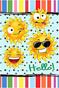 Morigins Hello Grimacing Sun Decorative Funny House Flag Double Sided 28x40 Inch