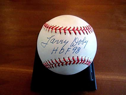 c72b34ad4dd Image Unavailable. Image not available for. Color  Larry Doby Autographed  Ball - Hof 98 ...