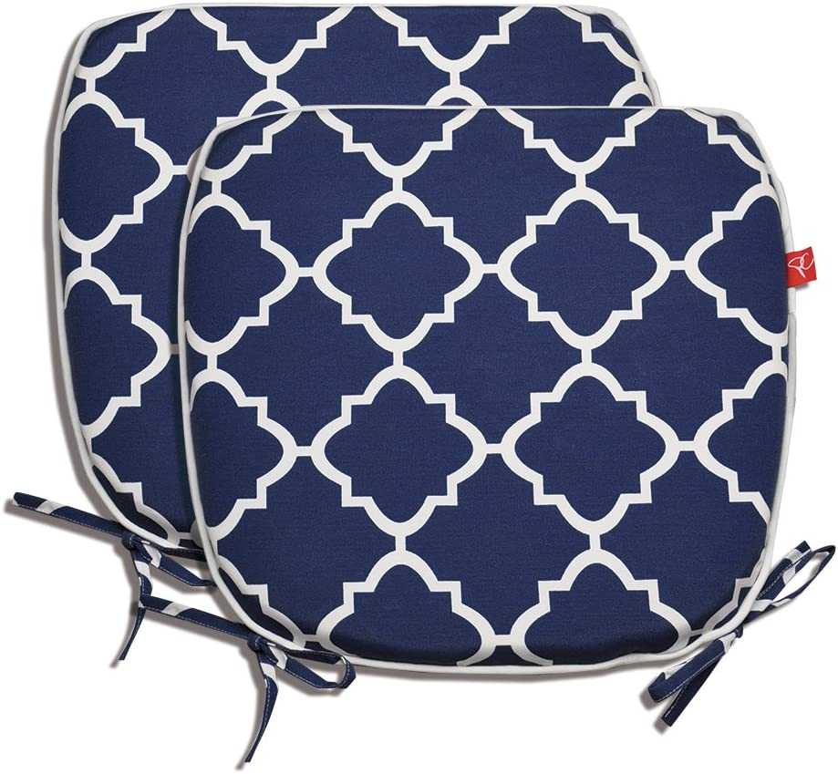 """Pcinfuns Indoor/Outdoor All Weather Chair Pads 16"""" X 17"""" Seat Cushions Garden Patio Home Chair Cushions, Set of 2 (Navy Blue)"""