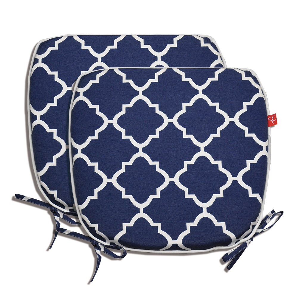 Pcinfuns Indoor/Outdoor All Weather Chair Pads 16'' X 15'' Seat Cushions Garden Patio Home Chair Cushions, Set of 2 (Navy Blue)