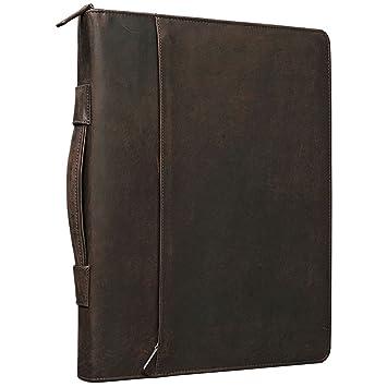 595327812 STILORD 'Justus' Portafolio de Piel Vintage con asa Portadocumentos o  Carpeta de conferencias o