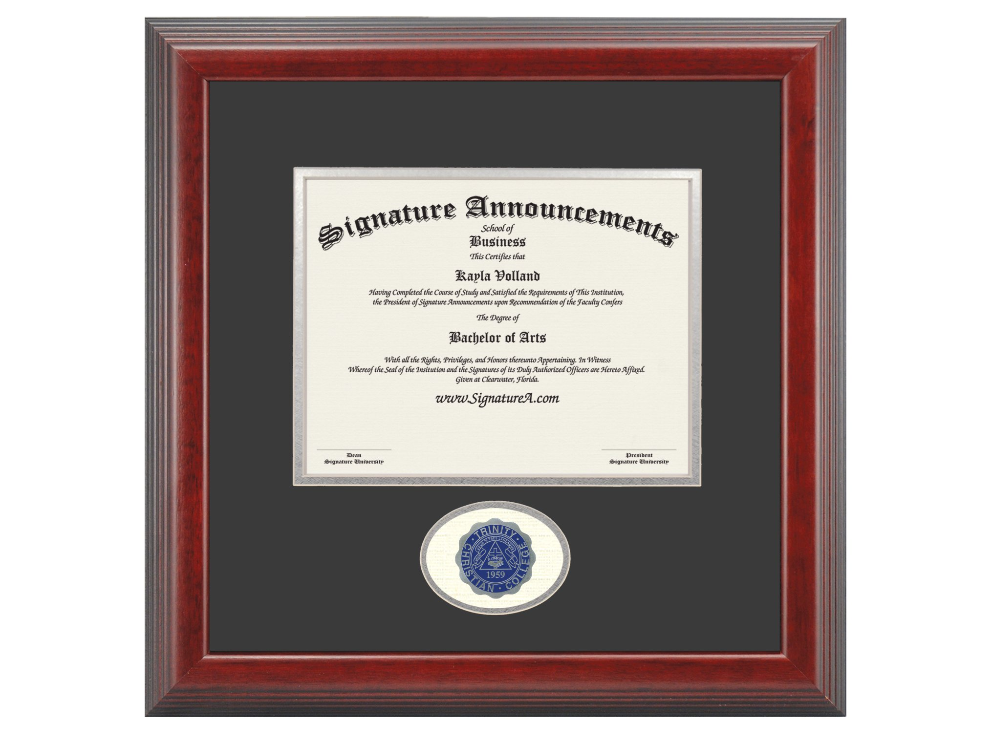 Signature Announcements Trinity Christian College Undergraduate Sculpted Foil Seal Graduation Diploma Frame, 16'' x 16'', Cherry