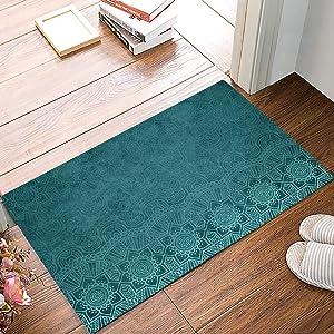 Welcome Doormats for Entrance Way, Aqua Teal Mandala Floral Turquoise Indian Boho Ethnic Style Non-Slip Indoor Area Runner Rugs, Rubber Floor Door Mat Home Decor for Kitchen Bedroom Living Room