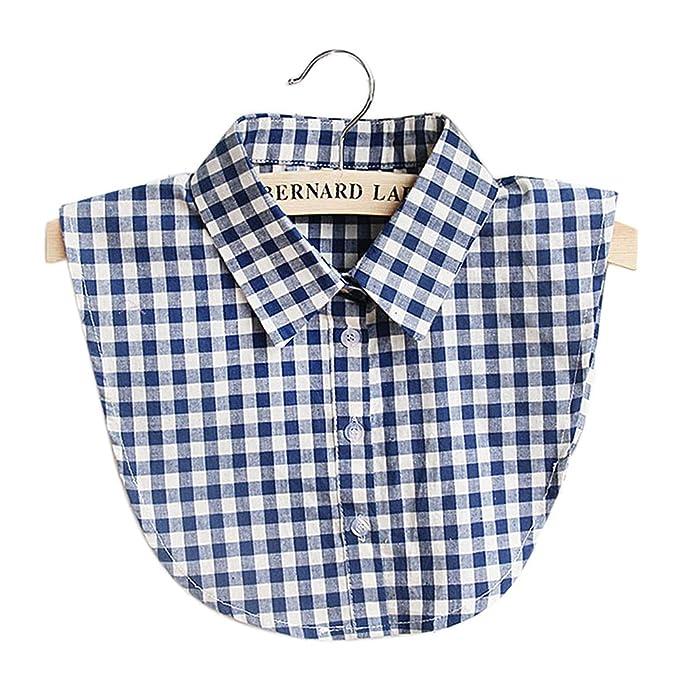 Vococal Collar de Camisa Falso, Collar Falso Algodón Casual Plaid para DIY Blusa Ropa de