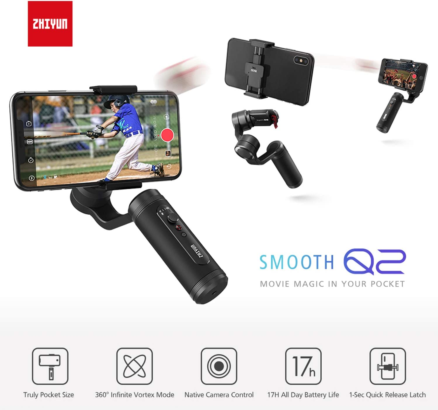 Zhiyun Smooth Q2 3-Axis Handheld Smartphone Gimbal Stabilizer for iPhone 11 Pro X XS Max for Samsung Galaxy S10 for Huawei P30 with Time-lapse Vertigo Shot Object Tracking Panorama,Pocket Size
