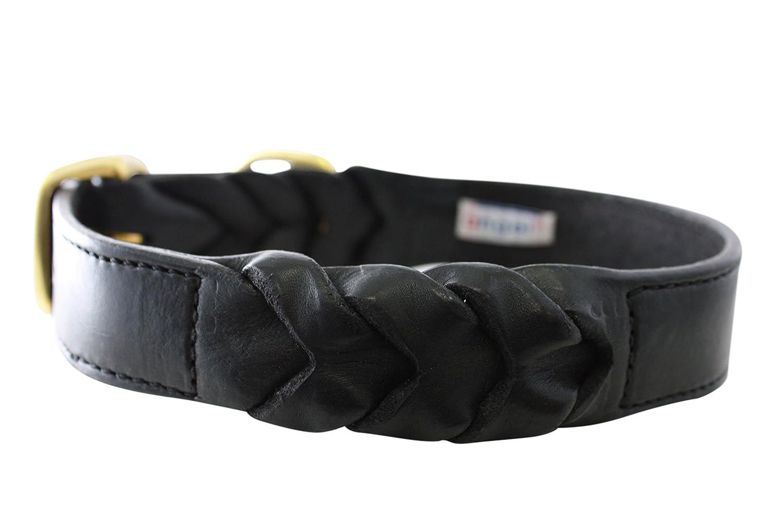 Leather Braided Dog Collar, 24  x 1.25 , Black, 100% Genuine Oiled Leather. Shepherd, Lab, English Bulldog & Similar Breeds (Neck Size  17.5  22 )