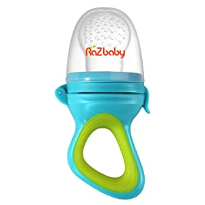 RaZbaby Baby Fruit Feeder/Food Feeder Pacifier, Infant Teething Toy Teether 6M+, Add Baby's Favorite Frozen Fruit or Fresh Food for Teething Relief, Silicone Pouch/Nipple, BPA Free, Green/Blue