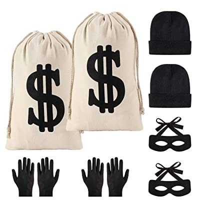 Yaromo 8 Pieces Robber Costume Set,Include Canvas Dollar Sign Money Bags Bandit Eye Mask Knit Beanie Cap Gloves for Halloween Cosplay Burglar Theme Party: Toys & Games