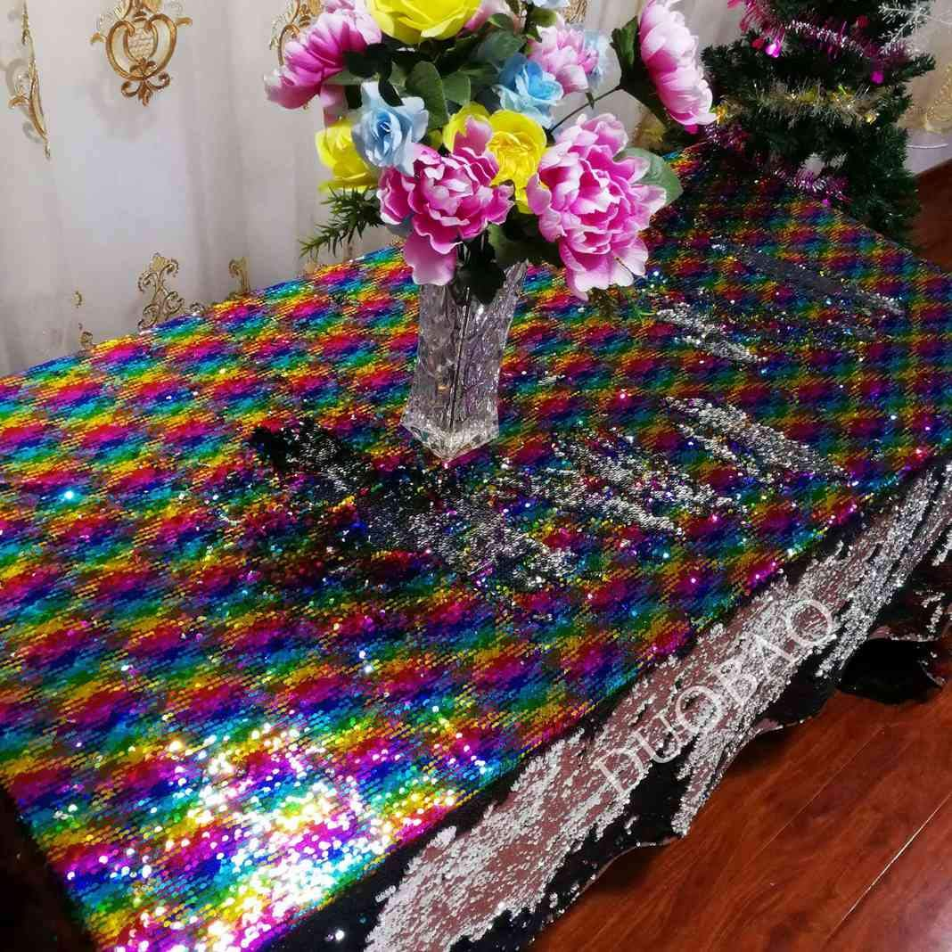 DUOBAO 72x108-Inch Rectangle Sequin Tablecloth Rainbow to Silver Glitter Table Cloths Mermaid Sequin Table Cover for wedding/party/birthday-0612H