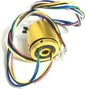 Taidacent Through Bore Electrical Slip Ring Rotary Electrical Contact 6/12/18/24 Wire Rotate Conductive Energization Collector Ring Brushes Hollow Shaft (6 Wires Inner Hole 7mm Outer Diameter 33mm)