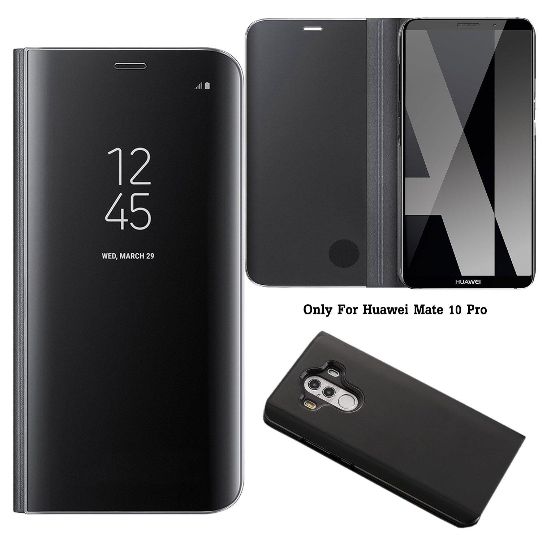 Oro Rosa Guran/® Mirror Efecto Espejo Funda para Huawei P9 Lite 2017 Clear View Funci/ón de Soporte Plegable Smartphone Funda Protectora