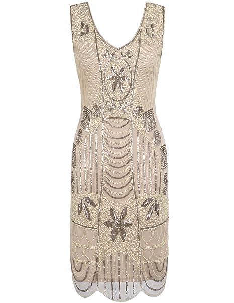 PrettyGuide Mujeres 1920s Gatsby Lentejuelas Art Deco Dobladillo Festoneado Vestido de Cocktail Flapper S Champán