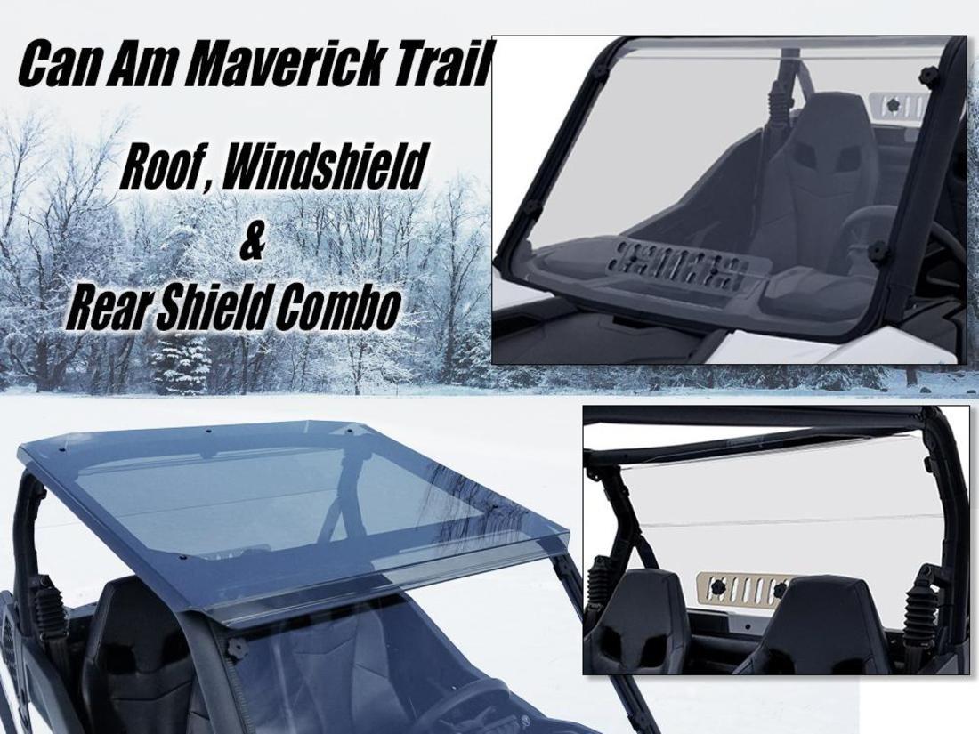 Amazon.com: Can Am Maverick Trail Windshield/Roof/Rear Shield Combo ...