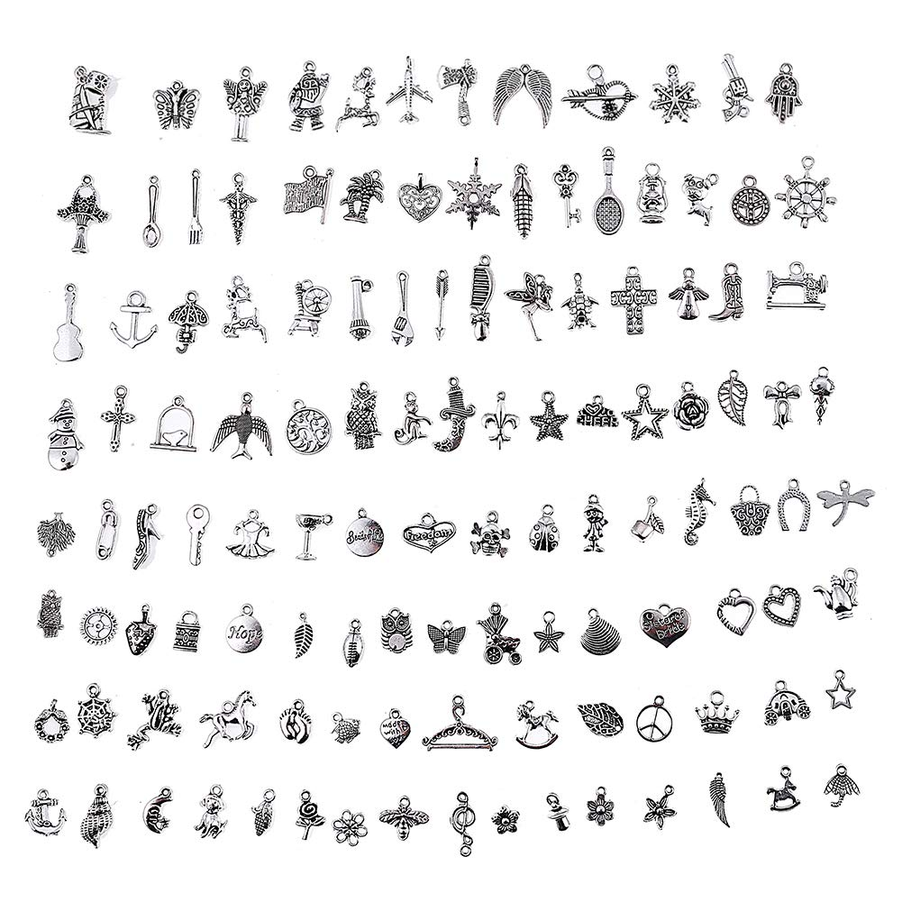 HYBEADS Silver Pewter Charms Pendants Mega Mix DIY for Jewelry Making and Crafting 100-Piece EC-5655