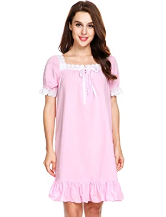Image Unavailable. Image not available for. Color  Avidlove Womens Cotton  Victorian Vintage Short Sleeve Pink Classic Nightgown Sleepwear 7df8cb6a8