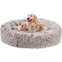 Bingopaw Plush Donut Pet Bed, Dog Cat Round Warm Cuddler Kennel Soft Puppy Sofa with Anti-Slip Bottom and Washable Cover…