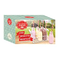 The Vintage Company 200 ml 15 x 26 x 16 cm Mini Milk Bottles in Metal Carry Holder with Straws, Pack of 6