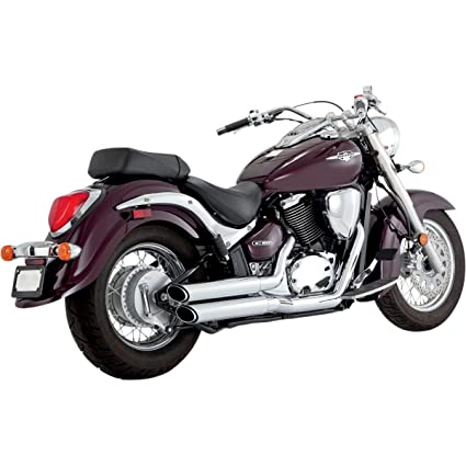 Amazon.com: Vance & Hines Chrome Twin Slash Staggered Exhaust System ...