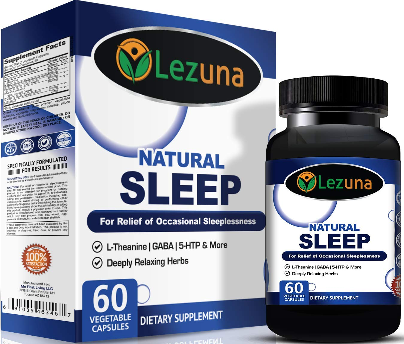 Amazon.com: Natural Sleep Aid Supplement for Adults with Melatonin, GABA,  Magnesium, L-Theanin, 5-HTP and More. Non-Habit Forming, Wake Refreshed  Sleep Aid ...