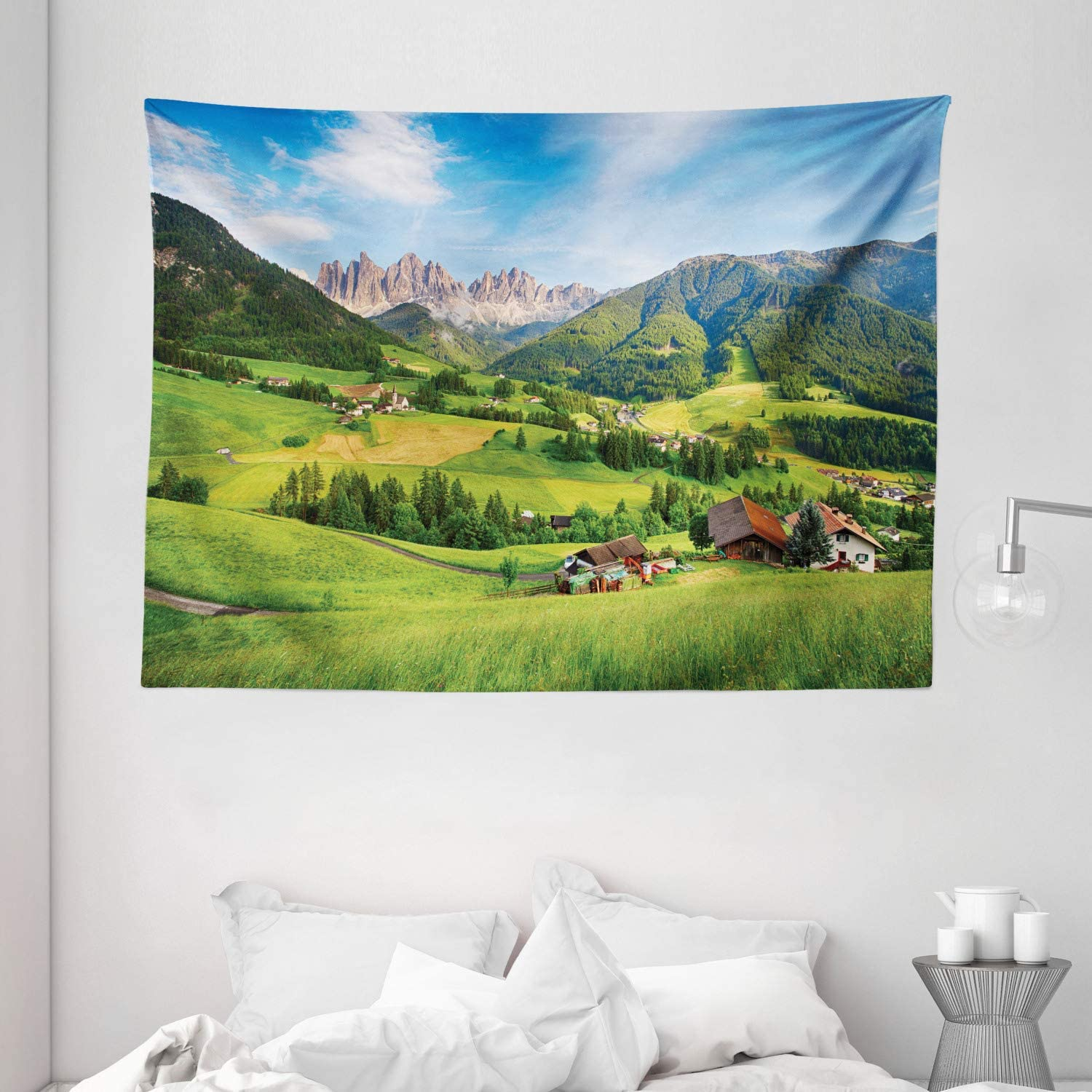 """Ambesonne Nature Tapestry, Alps in The Spring Season with Fresh Grass Sky Majestic Mountains Image, Wide Wall Hanging for Bedroom Living Room Dorm, 80"""" X 60"""", Blue Green"""