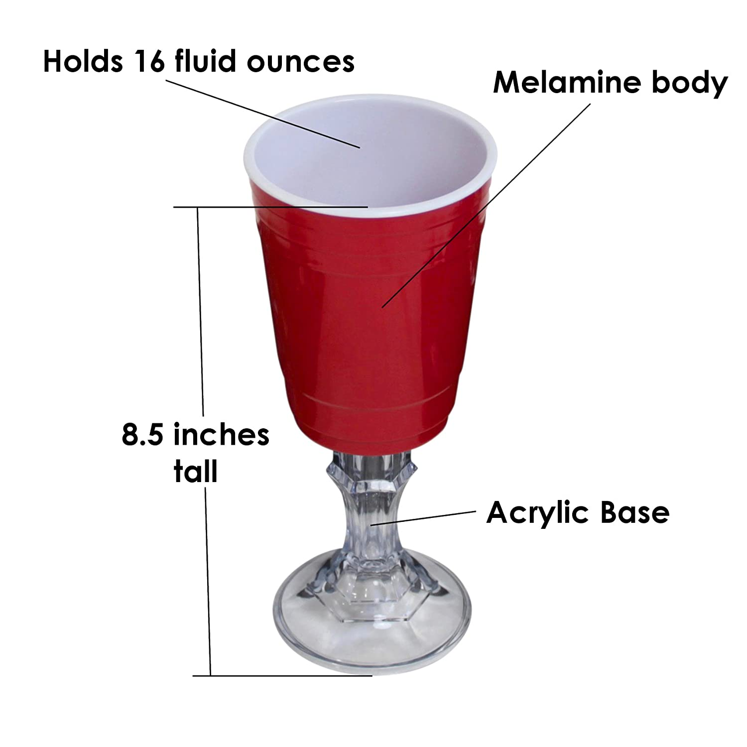 Red Cup is Made From Durable Melamine, Base Is Clear Acrylic