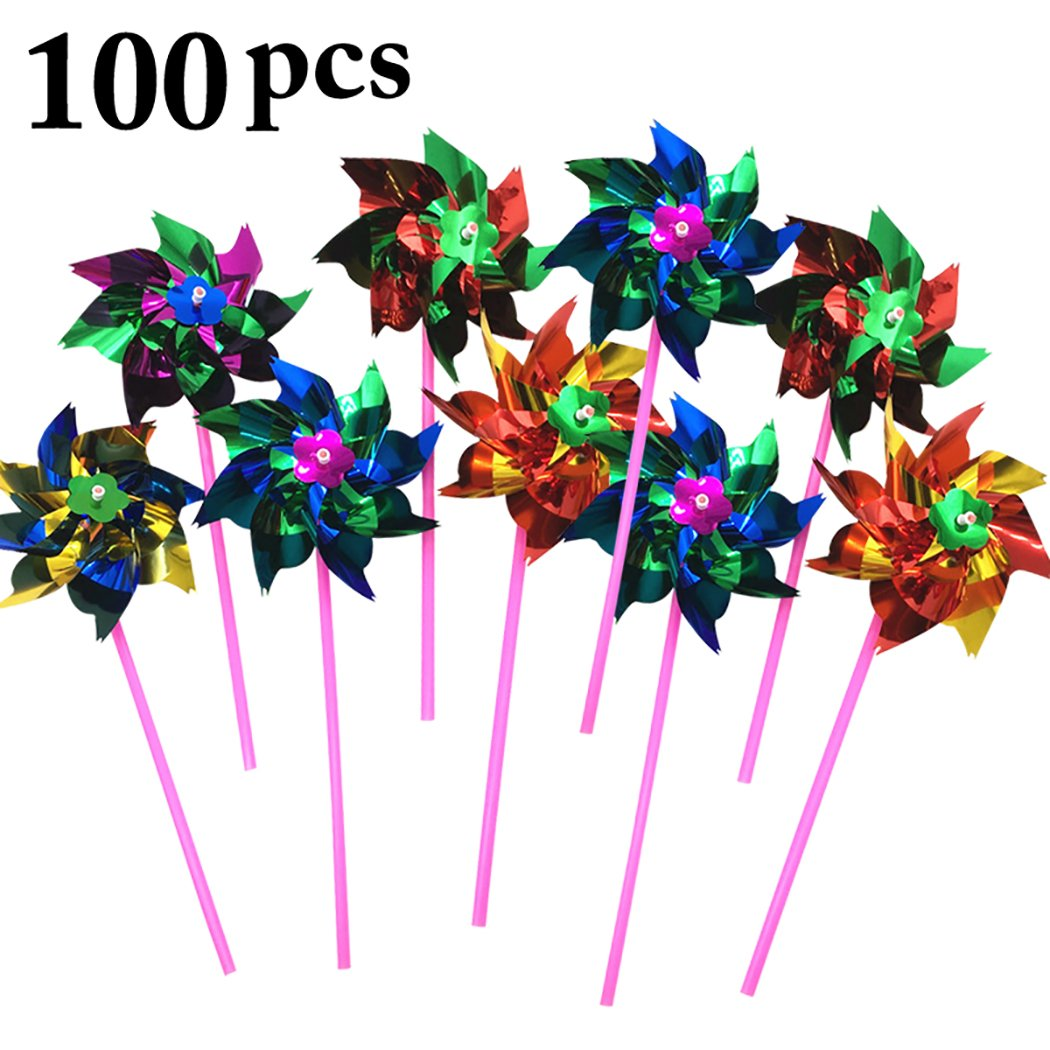 Fansport 100PCS Pinwheel Decor Kids Toy Colorful Wind Spinner Windmill for Party Decor (Random Color)