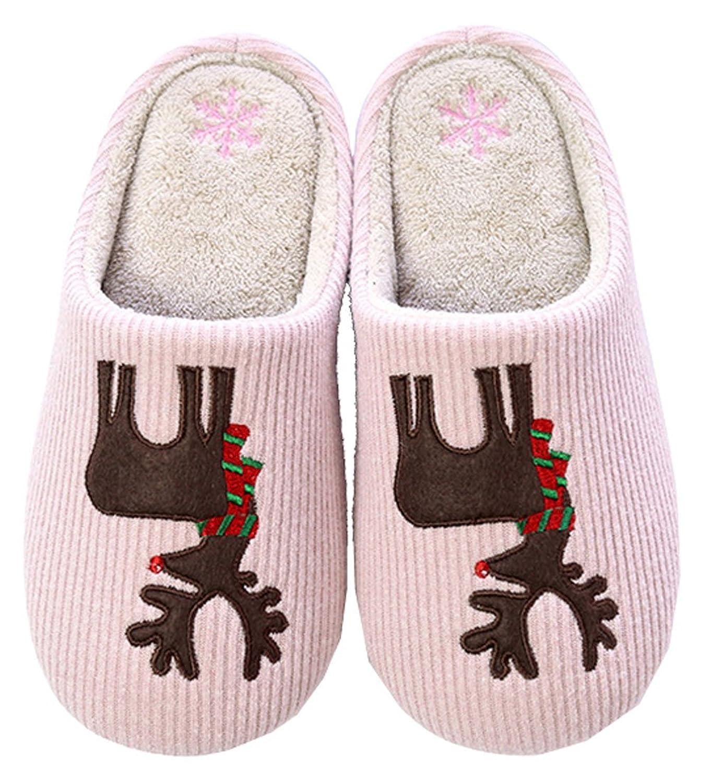 Adult Cartoon Elk Soft Plush Non-slip Indoor Winter Warm Slippers -Pink/Grey