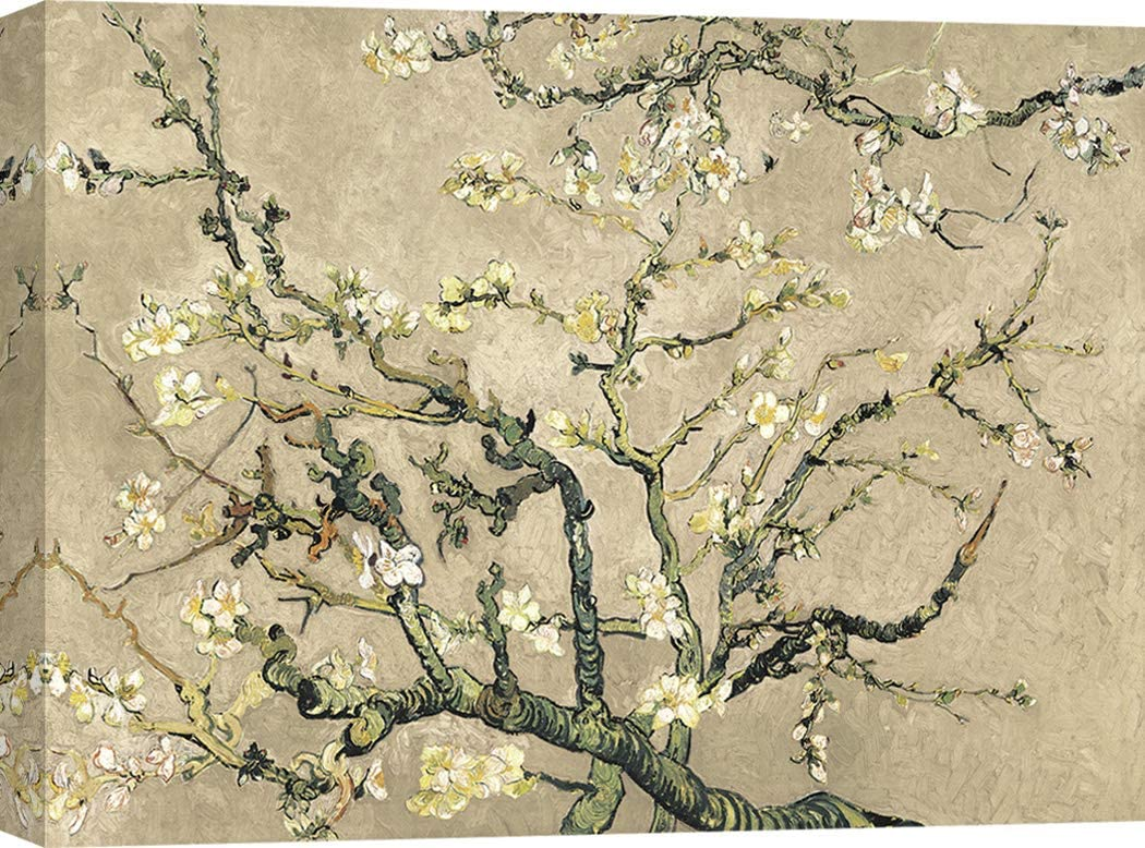 Art Print Cafe – Cuadro – Impresion sobre Lienzo - Vincent Van Gogh, Van Gogh Deco – Almendro en Flor (variación Beige) – 70x50 cm