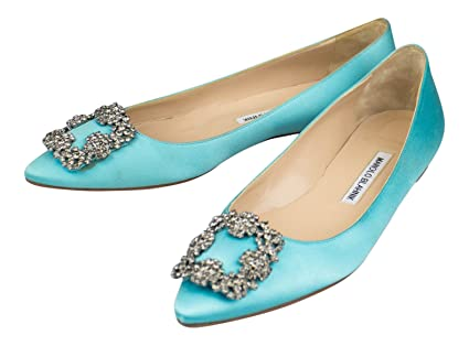 07ae16eac0d Amazon.com  MANOLO BLAHNIK Turquoise Satin Hangisi Heels Shoes 8 US ...