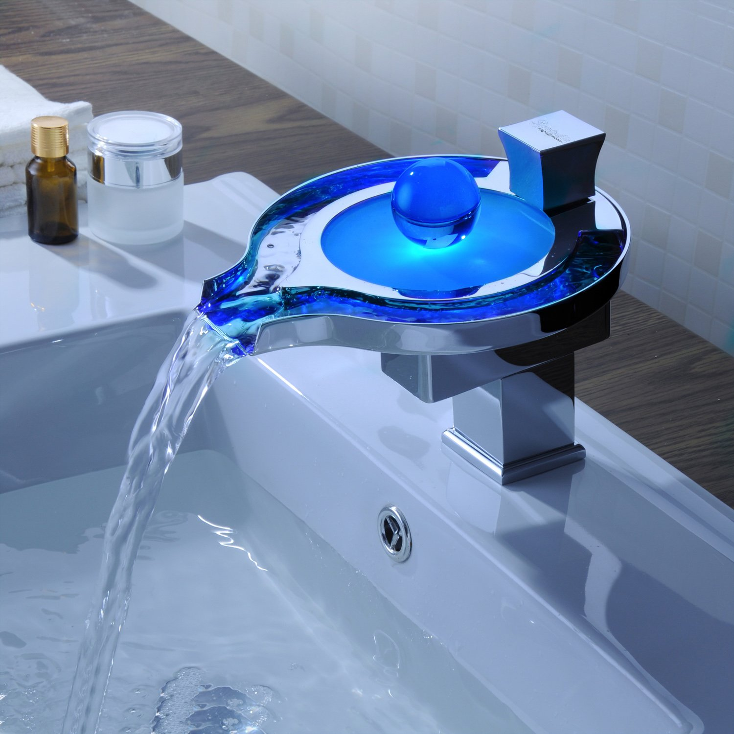 Sprinkle® Color Changing LED Widespread Waterfall Bathroom Sink ...
