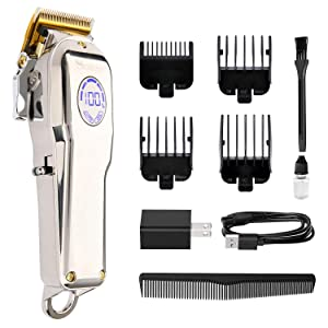 MOREASE Hair Clippers for Men, Professional Cordless Hair Clippers, Hair Cutting Grooming Kit, Rechargeable Barber Clippers, LED Display Beard Trimmer for Home Barber Salon, Silver