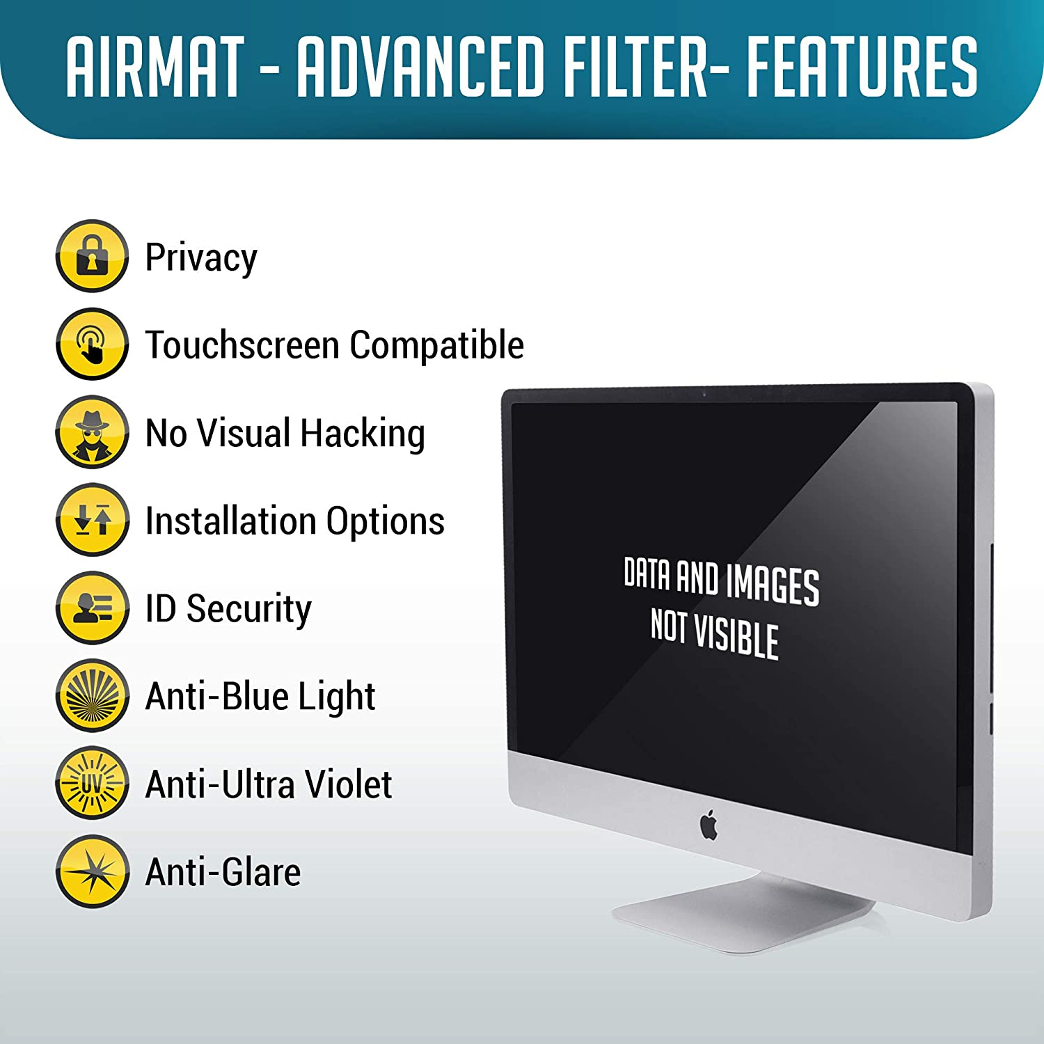 , Black 16:9 Premium Anti Glare Protector Film for Data Confidentiality. 28 Widescreen Computer Privacy Screen Filter for 28 inch Widescreen Display Monitors by AirMat