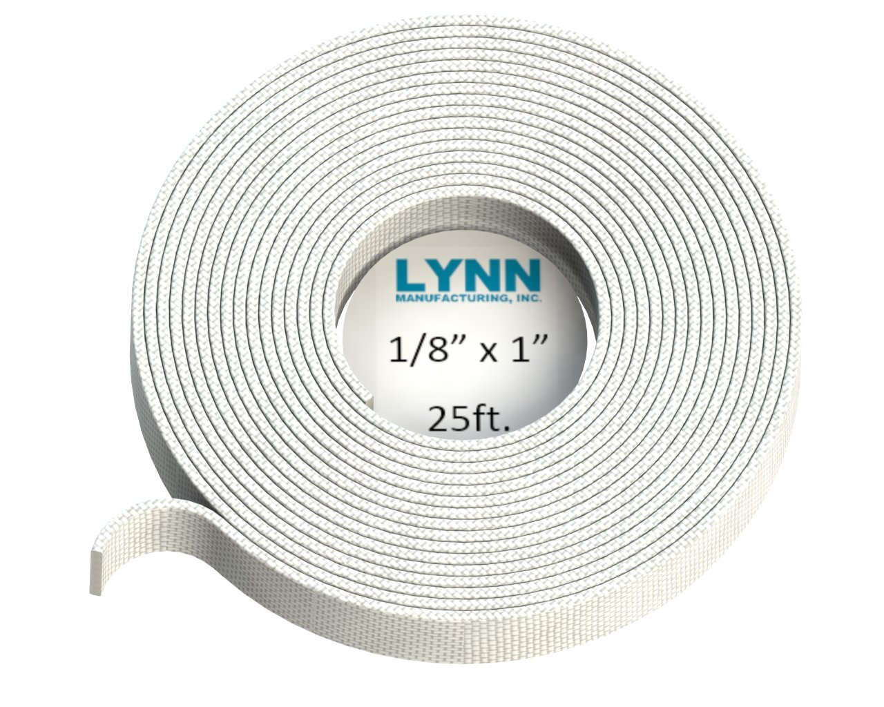 Lynn Manufacturing High Temperature Flat Gasket Tape, 1000F, White, Boiler & Furnace, 1'' x 1/8'' x 25ft