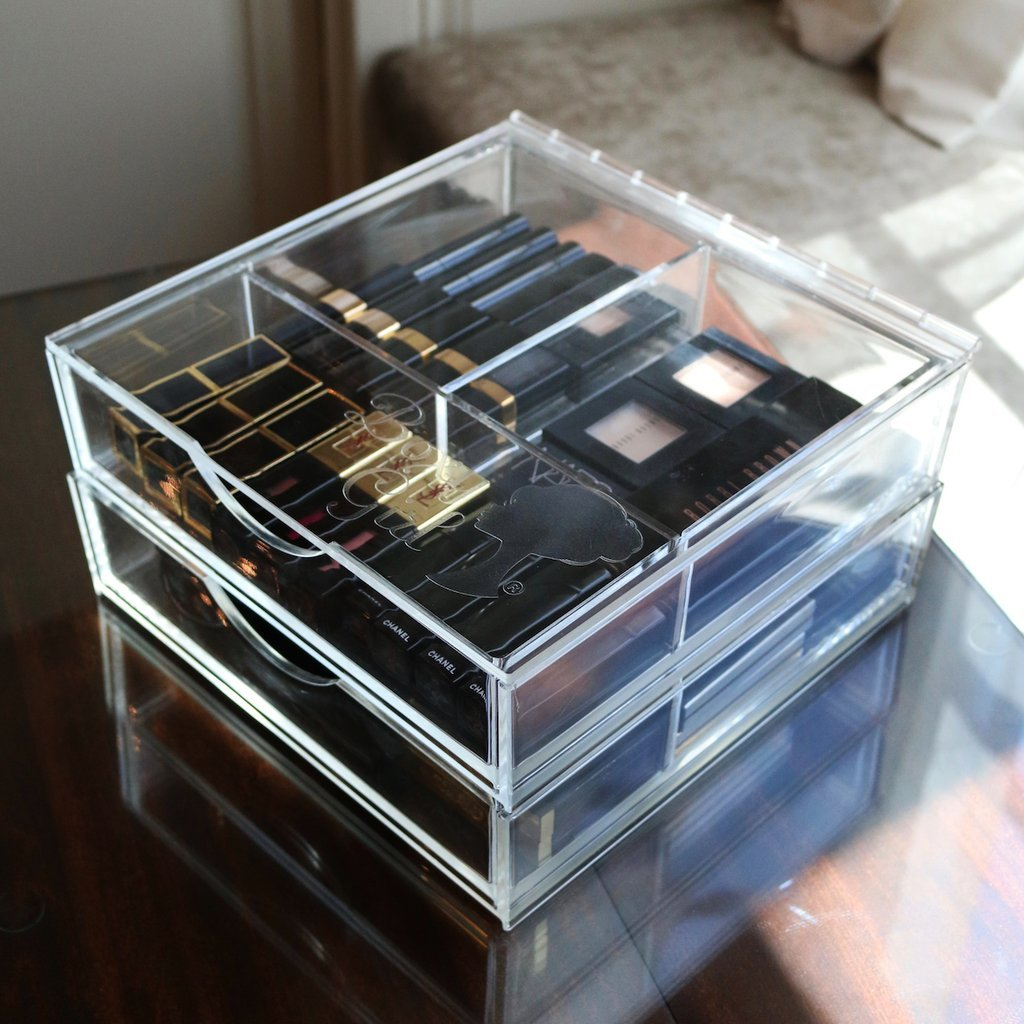Boxy Girl Acrylic Makeup Organizer Double Stack With Lid 100% Lucite, Cube